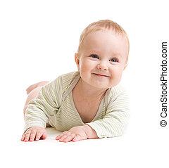 menino bebê, isolado, mentindo, smilingly
