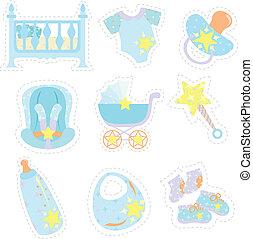 menino bebê, itens, ícones