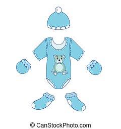 menino bebê, jogo, vetorial, roupas