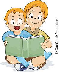 menino bebê, lendo um livro, com, irmão