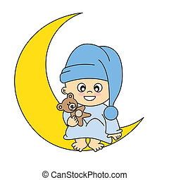 menino bebê, ligado, lua