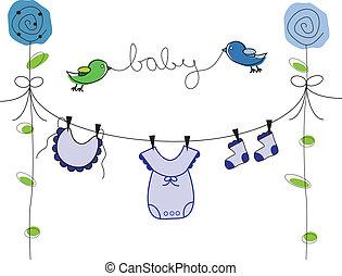 menino bebê, linha, roupas