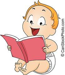menino bebê, livro, criança