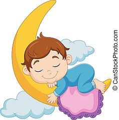 menino bebê, lua, caricatura, dormir