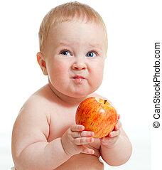 menino bebê, maçã, vermelho