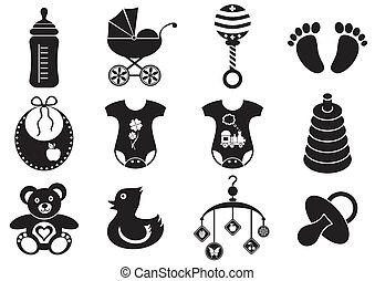 menino bebê, menina, ícones