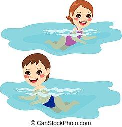 menino bebê, menina, natação