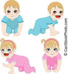 menino bebê, menina, rastejar
