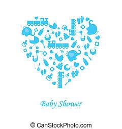 menino bebê, nascimento, cartão