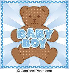 menino bebê, urso, pelúcia