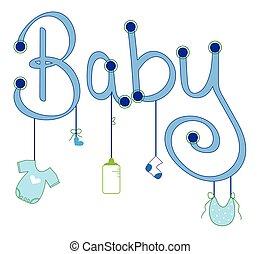 menino bebê, veste enfileire