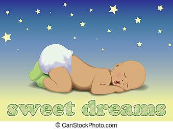menino bebê, vetorial, dormir