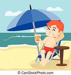 menino, bebendo, praia, relaxante
