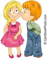 menino, beijando, menina