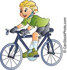 menino, bicicleta, ilustração, montando
