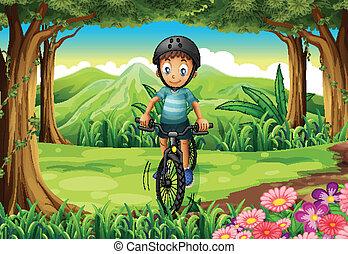 menino, biking, selva