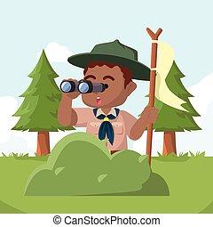 menino, binocular, atrás de, bush, espiar, africano