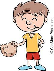 menino, biscoito, caricatura