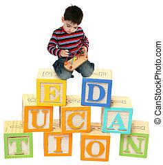 menino, blocos, alfabeto, três, ano velho, tocando