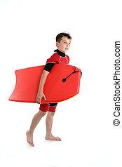 menino, bodyboard, segurando, surfista