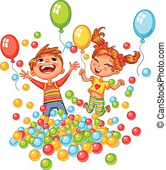 menino, bolas, coloridos, pátio recreio, menina, tocando, ...