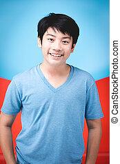 menino, bom, olhar, face., asiático, retrato, sorrizo