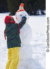 menino, boneco neve, fazer