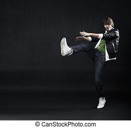menino, bonito, jovem, dançar