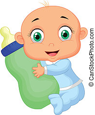menino, bottl, caricatura, prendendo bebê, leite