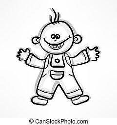 menino, branca, caricatura, feliz