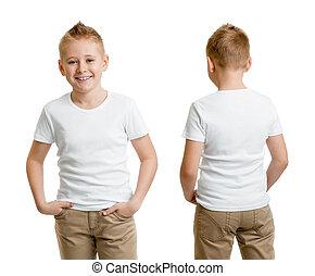 menino, branca, isolado, costas, t-shirt, tshirt, frente, modelo, criança, ou, bonito