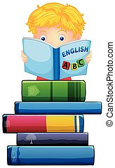 menino, branca, livro, leitura, fundo