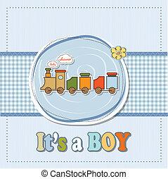 menino, brinquedo, chuveiro, trem, bebê, cartão
