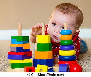 menino, brinquedo, empilhando, aprendizagem, bebê, tocando