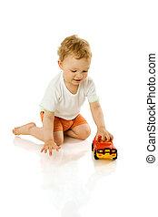 menino, brinquedo, segurando