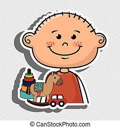 menino, brinquedos, caricatura, feliz