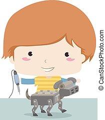 menino, cão, ilustração, robô, ferro, soldering, criança