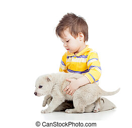 menino, cão, isolado, fundo, branca, filhote cachorro, ...