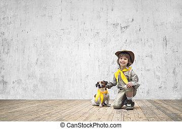 menino, cão, uniforme