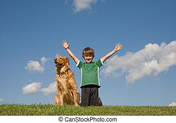 menino, céu, cão