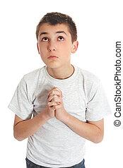 menino, céu, olha, respostas, oração