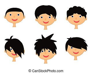 menino, cabeça, ícone, jogo, isolado, ilustração, rosto, experiência., vetorial, branca, símbolo, caricatura, design.