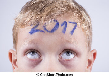 menino, cabeça, 2017, número, jovem