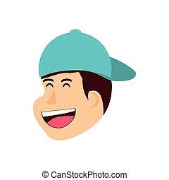 menino, cabeça, boné, personagem, avatar, criança