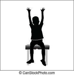 Menino, cadeira, mãos, cima, sentando