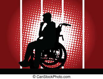 menino, cadeira rodas, jovem