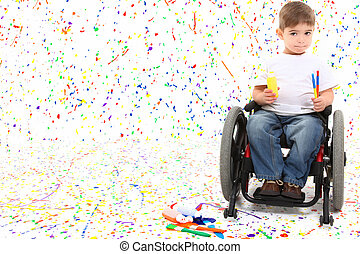 menino, cadeira rodas, quadro, criança