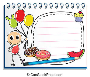 menino, caderno, balões, desenho, segurando