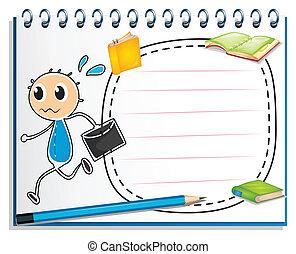 menino, caderno, envelope, desenho, segurando