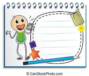 menino, caderno, rádio, desenho, segurando